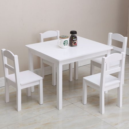 UBesGoo Kids Wooden Table and Chairs, 5 Pieces Set Includes 4 Chairs and 1 Activity Table, Picnic Table with Chairs - Wooden Play Table