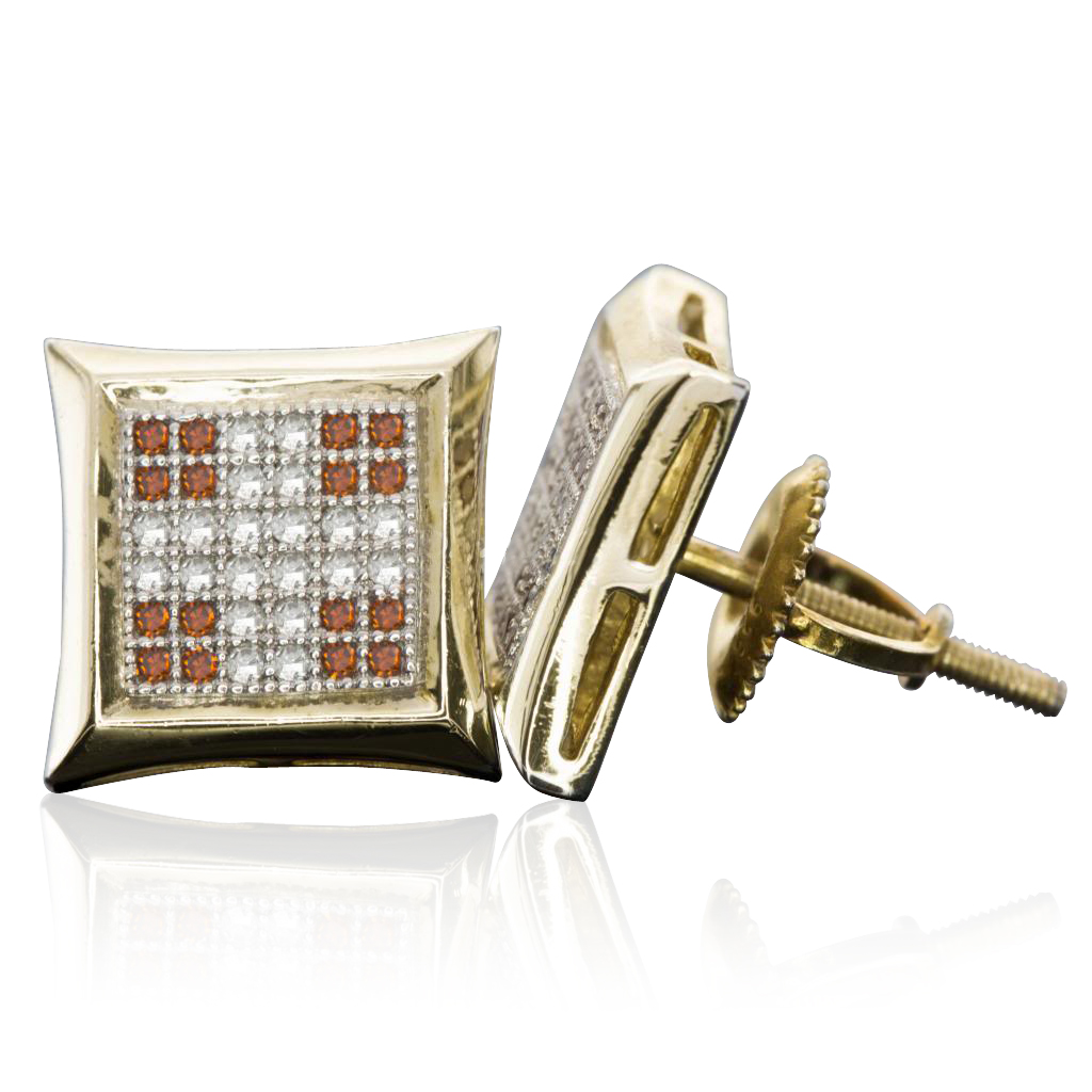 Sterling Silver 10 MM Cross Two Tone Micro Pave Diamond Stud Earrings (0.28 cttw, H-I color, I1-I2 Clarity)