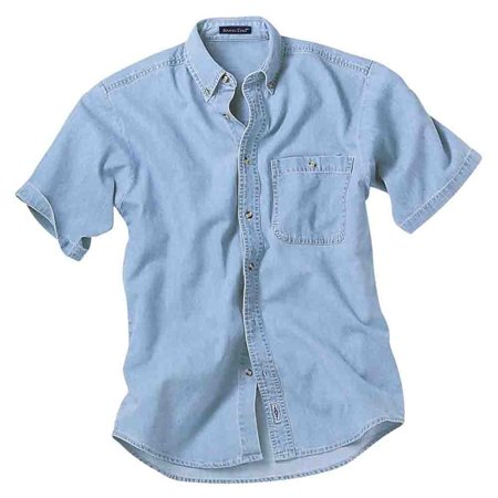 River's End Mens Short Sleeve Denim and Twill Shirt Casual