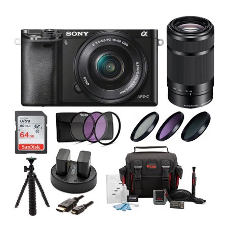 Sony Alpha a6000 Mirrorless Digital Camera with 16-50mm and 55-210mm Lens Bundle (Gold Sony Camera)