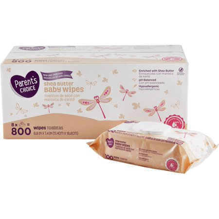 Parent's Choice Shea Butter Baby Wipes, 8 packs of 100 (800 count) Dots Baby Wipe Case