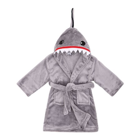 Animal Plush Soft Hooded Terry Bathrobe Robe,Shark Grey,M(4-6 Years)