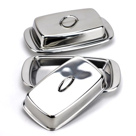 Butter Dish, Stainless Steel French Butter Dish with Lid, Silver (Pack of 2)