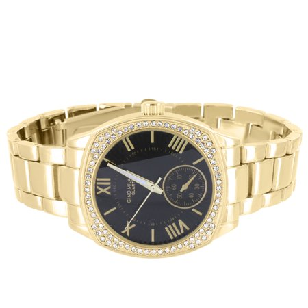 Gold Tone Classy Watch Black Dial Analog Quartz Roman Numeral Display Lab Created Cubic -