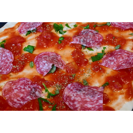 LAMINATED POSTER Salami Pizza Dough Tomatoes Pizza Topping Crude Poster Print 24 x