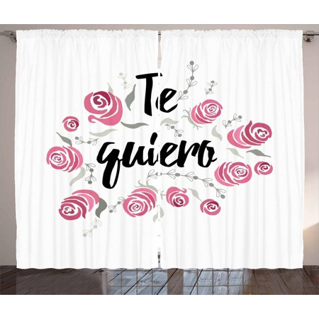 Spanish Curtains 2 Panels Set, Te Quiero Typography with Rose Flower Wreath Romantic Love Valentines Concept, Window Drapes for Living Room Bedroom, 108W X 84L Inches, Pink Black White, by