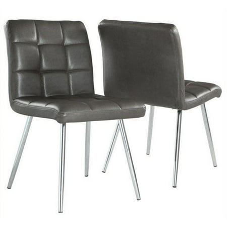 atlin designs faux leather dining chair in gray and chrome set of 2