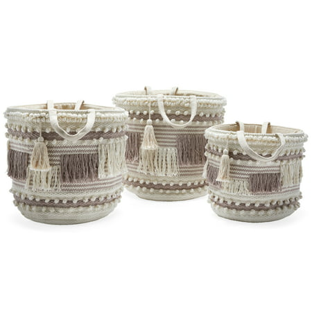 Hand Woven Macrame 3 Piece Basket Set, Natural and Taupe by Drew Barrymore Flower Home ()