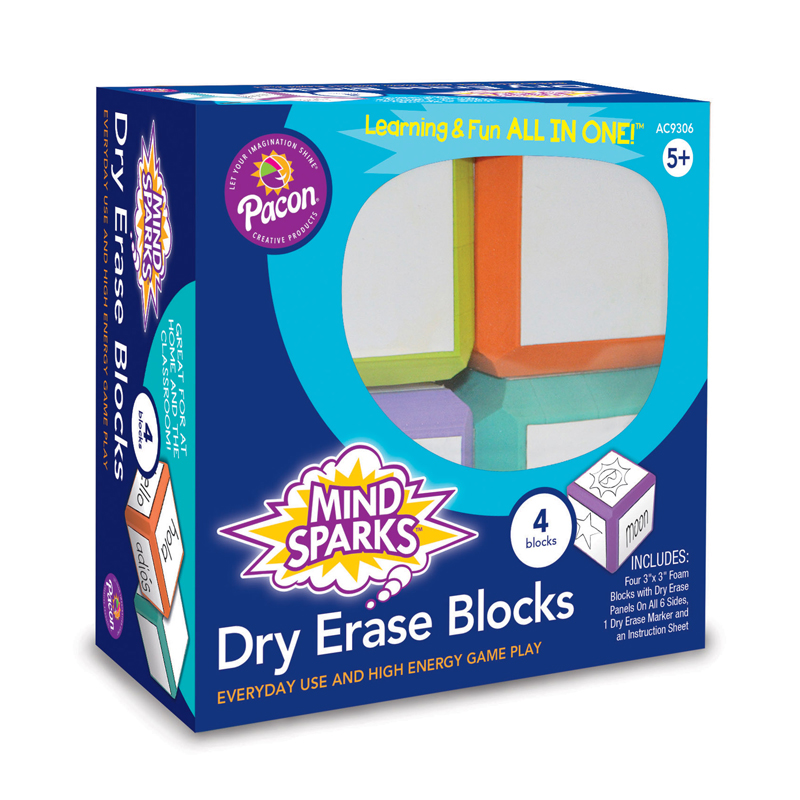 Mind Sparks™ Dry Erase Blocks, Assorted Colors, 4 Count