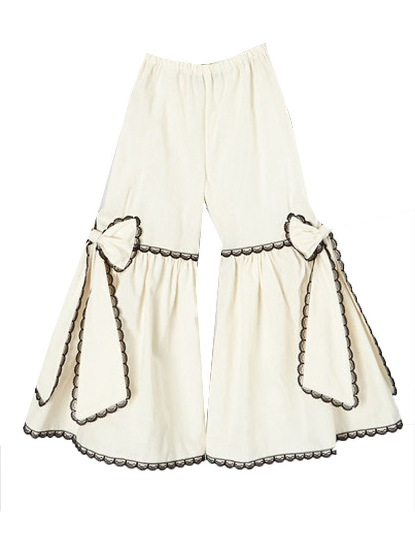 Girls Ivory Black Scalloped Lace Trim Bow Accented Flare Pants 7-10