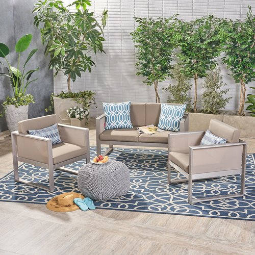 Ebern Designs Juan Outdoor Mesh 3 Piece Sofa Seating Group with Cushions