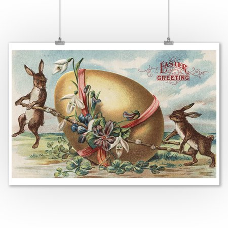 Easter Greetings - Rabbits by a Decorated Egg (9x12 Art Print, Wall Decor Travel Poster) - Easter Egg Art