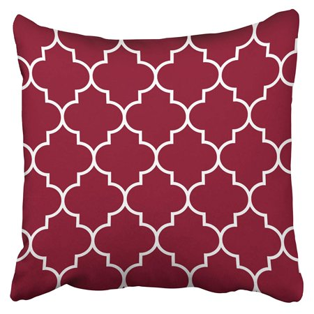 ARTJIA Large White On Burgundy Backg Quatrefoil Pillowcase Cushion Cover 20x20 inch