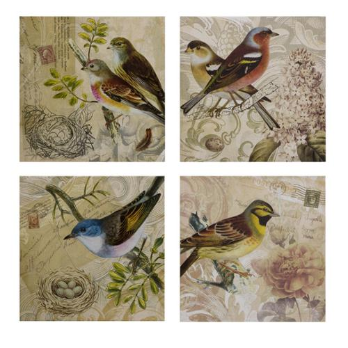 Set of 4 Vibrant Multi-Colored Spring Birds and Postcards Wall Decor