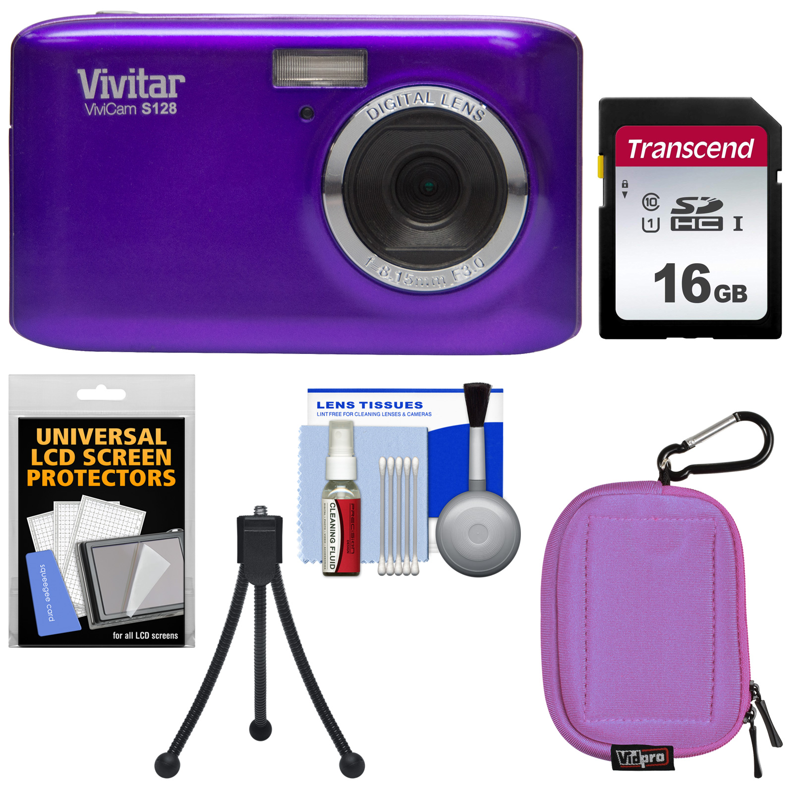Vivitar ViviCam S128 Digital Camera (Purple) with 16GB Card + Case + Mini Tripod + Kit