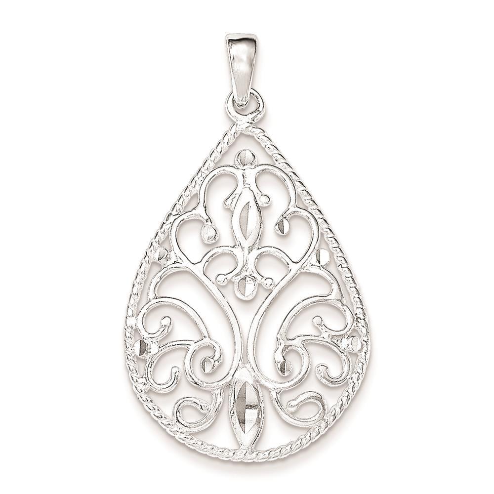 925 Sterling Silver Polished & Diamond-Cut Filigree Charm Pendant