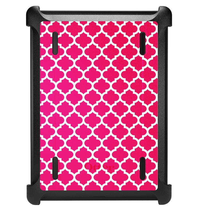 CUSTOM Black OtterBox Defender Series Case for Apple iPad Air 1 (2013 Model) - Hot Pink White Moroccan Lattice