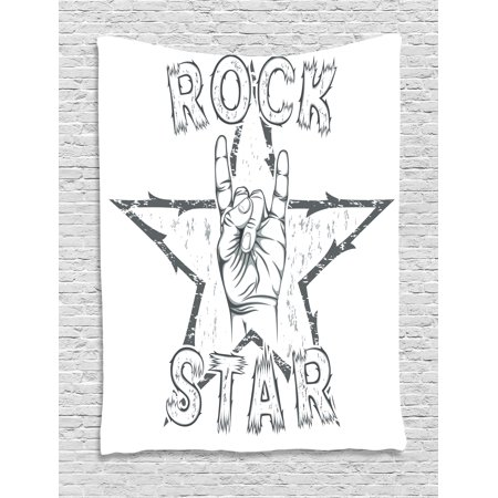 Rock Star Themed Classroom (Popstar Party Tapestry, Rock Star Theme High Sign and Star Figure Grungy Sketch Gesture Vintage, Wall Hanging for Bedroom Living Room Dorm Decor, Black and White, by)