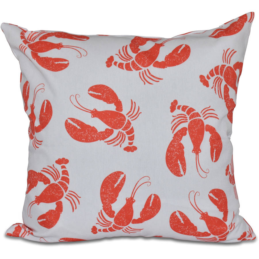 "Simply Daisy 16"" x 16"" Lobster Fest Animal Print Pillow"