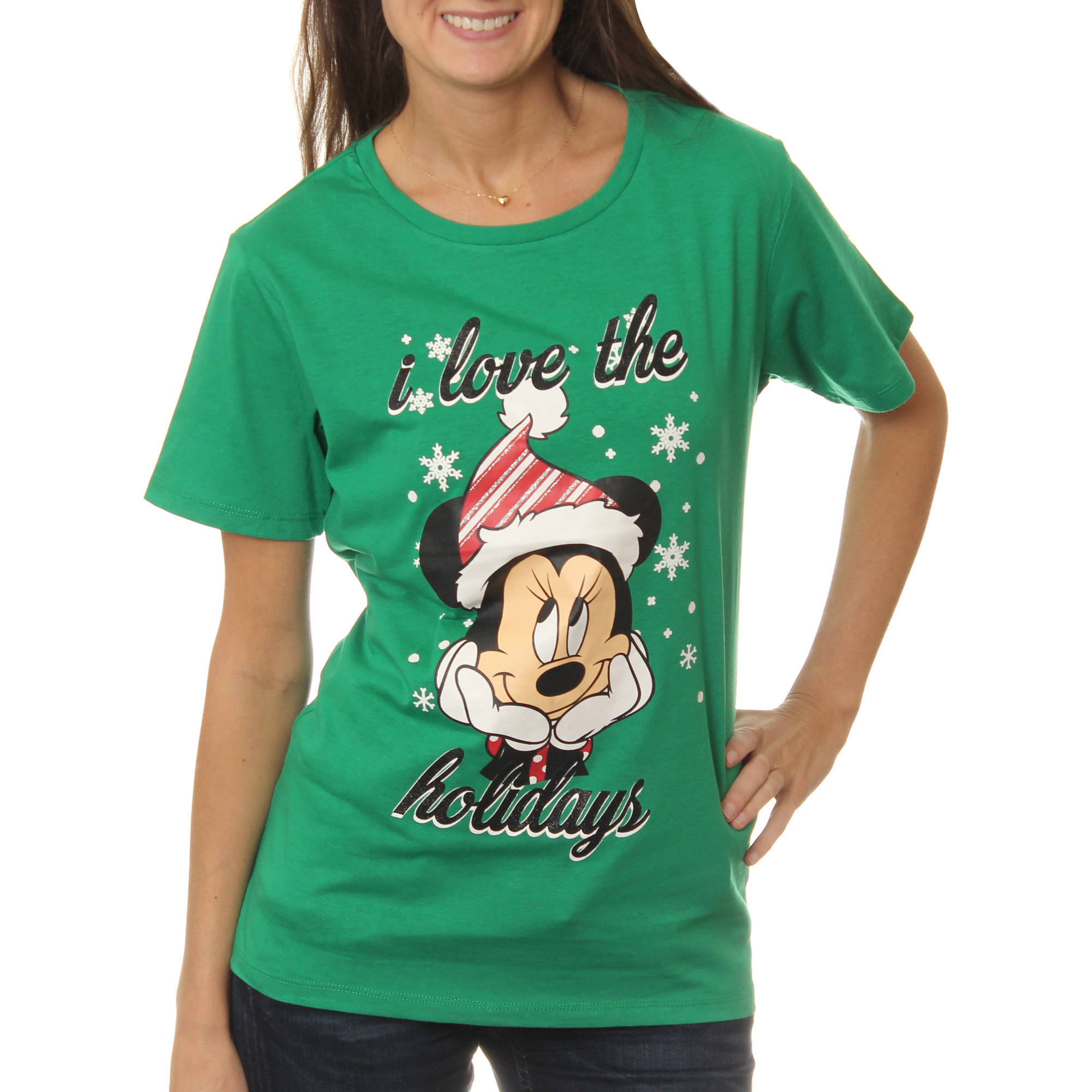 "Disney ""I Woke Up With This"" Juniors' Christmas Holiday Short Sleeve Tee"