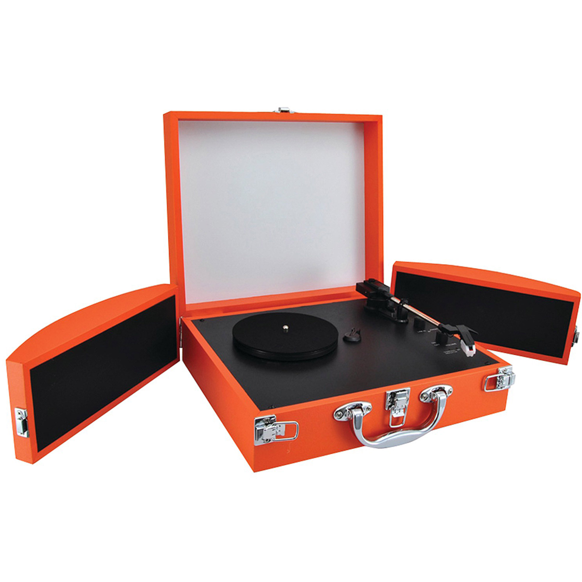Pyle PVTTBT8OR Bluetooth Classic Vinyl Record Player Turntable with Fold-Out Speakers and Vinyl-to-MP3 Recording, Orange