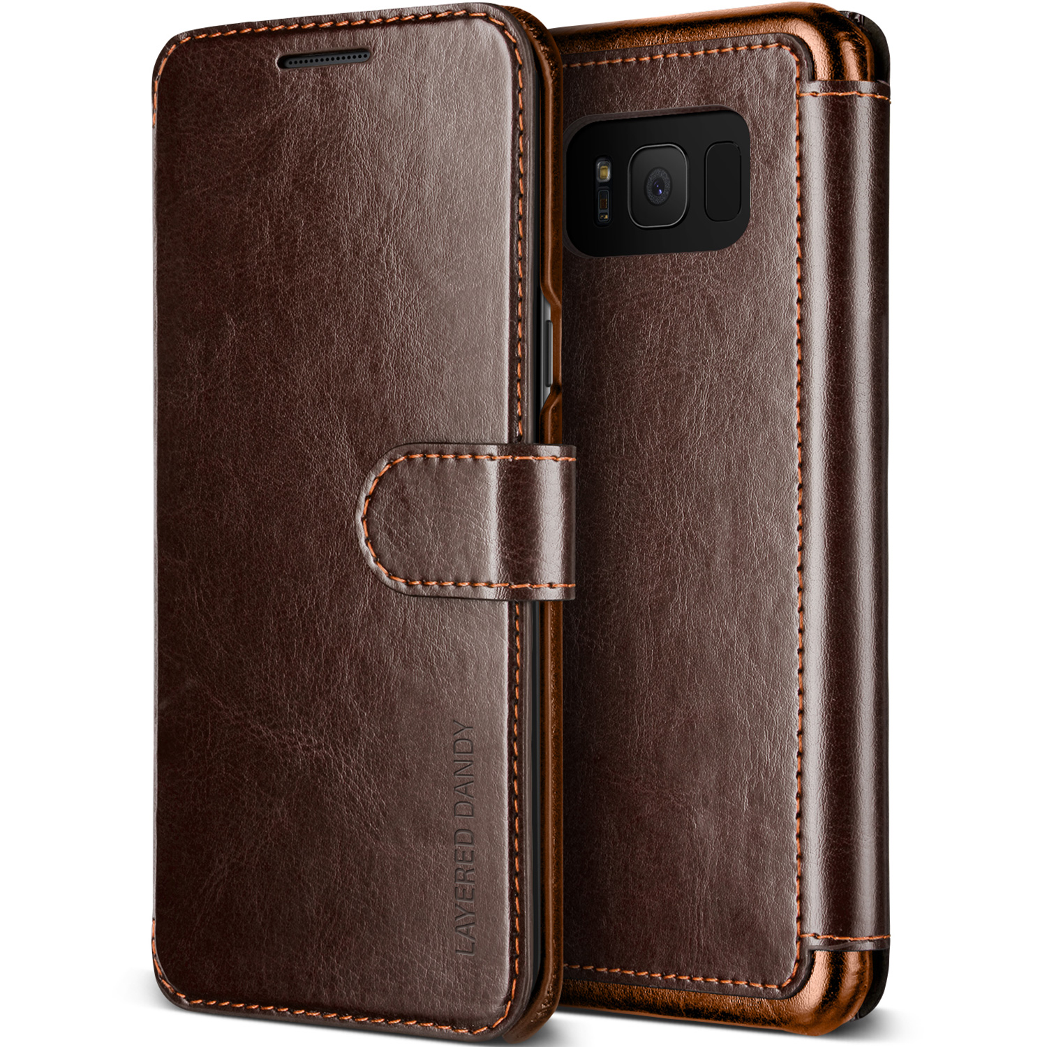 Samsung Galaxy S8 Case Cover | Premium PU Leather Wallet with Card Slots | VRS Design Layered Dandy for Samsung Galaxy S8