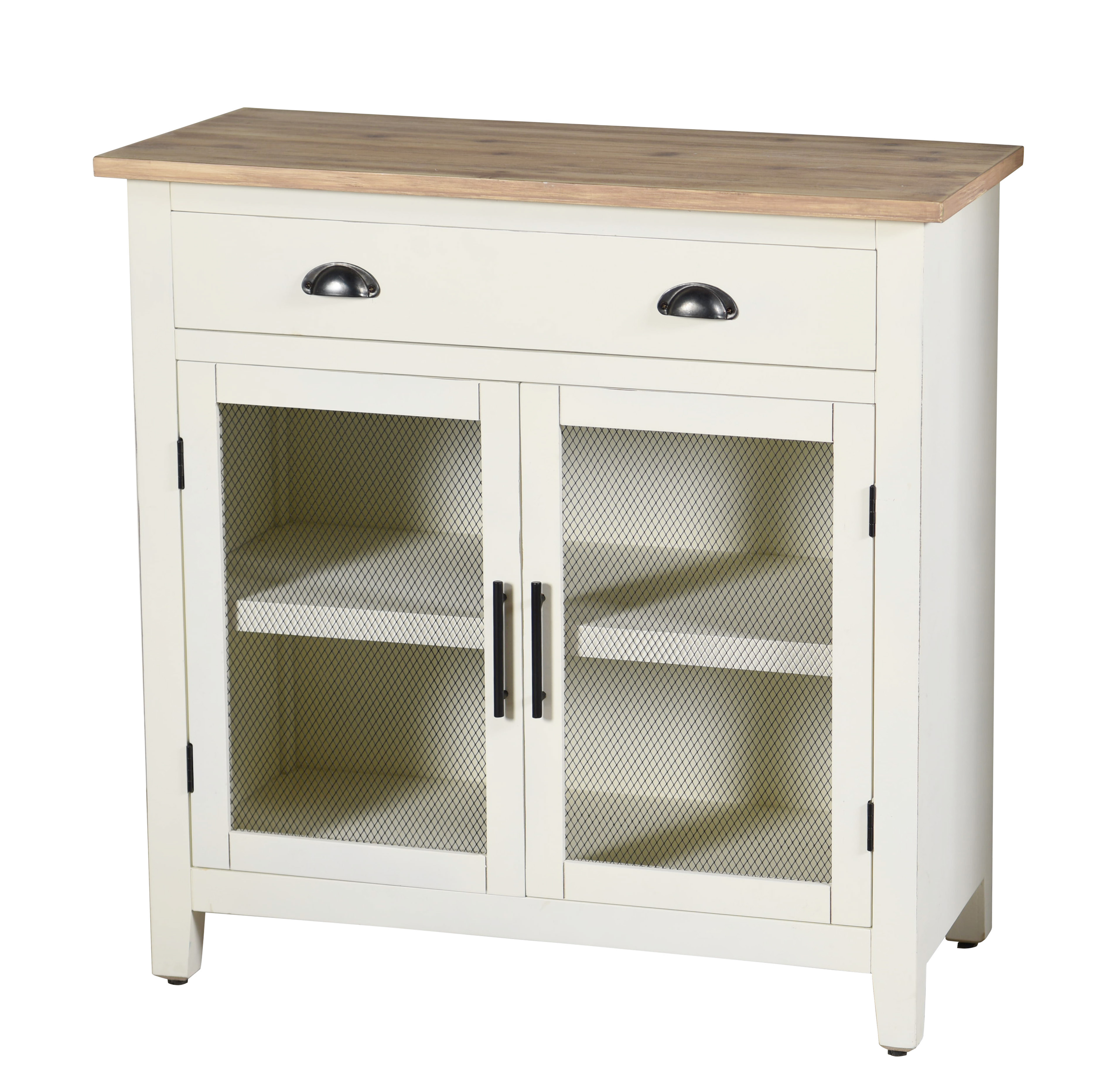 Quail Farm Two Door, Drawer and Shelf Cabinet - White and Natural
