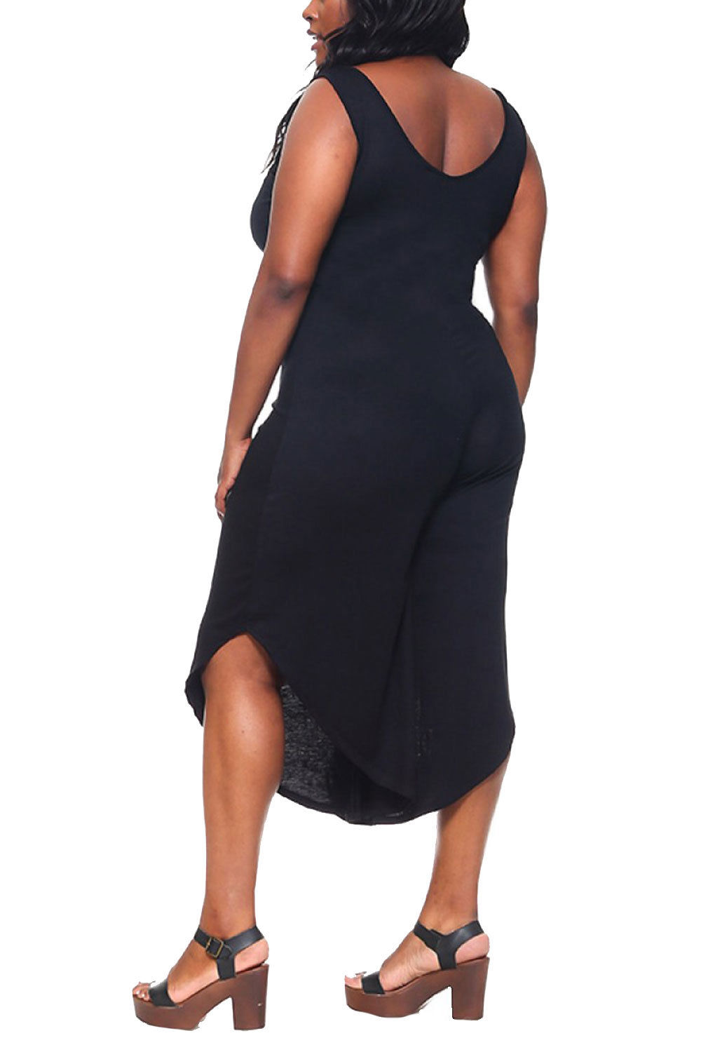 692229db620 Genx - Womens Plus Size Solid Sleeveless Drapped Capri Jumpsuit YD-1220-XL- Black - Walmart.com