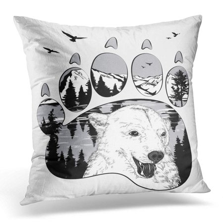 BOSDECO Black Forest Trail Bear in The Wilderness Double Exposure for Your Design Wildlife Concept White Pillowcase Pillow Cover Cushion Case 16x16 inch - image 1 de 1