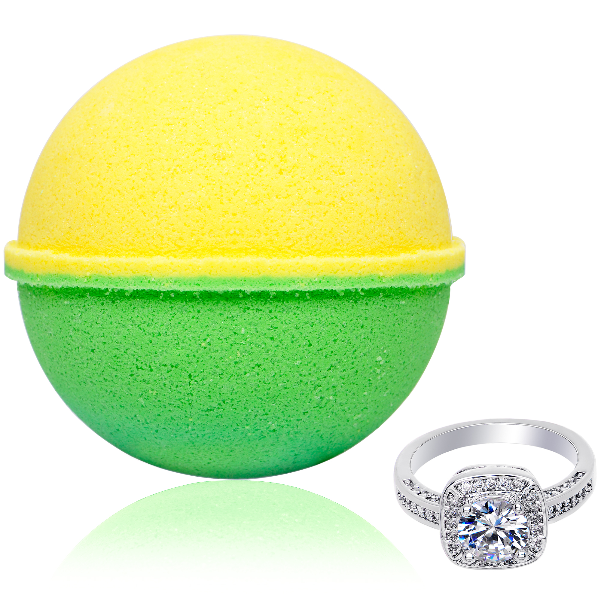Bath Bomb with Surprise Size Ring Inside Bergamot Extra Large 10 oz. Made in USA