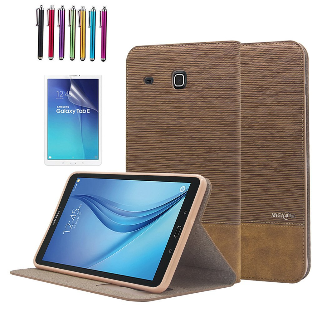 "Mignova Galaxy Tab E 8.0 folio Case , Premium Leather Case Cover For 8"" Samsung Galaxy Tab E 8.0 (Sprint / US Cellular) SM-T377 4G LTE 8-Inch Tablet + Screen Protector Film and Stylus Pen (2nd Brown)"