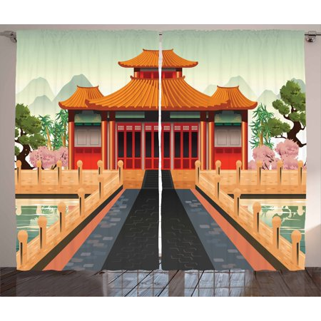 Ancient China Curtains 2 Panels Set, Chinese Temple Illustration in Lively Colors Landscape and Pink Asian Plants, Window Drapes for Living Room Bedroom, 108W X 108L Inches, Multicolor, by - Color In Chinese