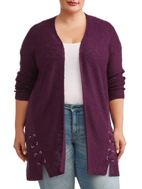 433d3e01647 Product Image Women s Plus Size Open Front Cardigan with Lace Up Grommets