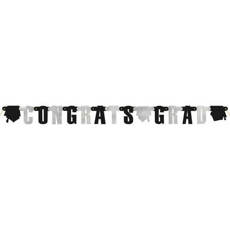 Congrats Graduation Banner, 4.5 ft, Black & Silver, - Graduation Photo Banners