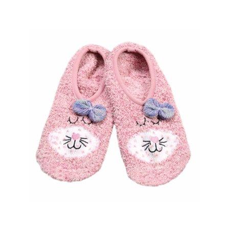 862a0854075 HIGH POINT DESIGN LLC - Women s Pink Cat Fuzzy Slipper Socks - One Size  Fits Most - Walmart.com