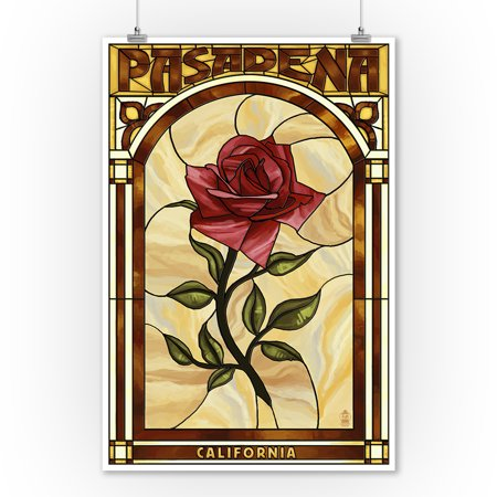 Pasadena, California - Rose Stained Glass - Lantern Press Artwork (9x12 Art Print, Wall Decor Travel Poster)