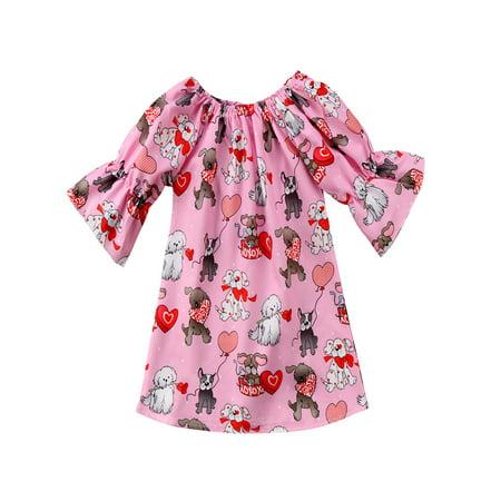 stylesilove Valentine Baby Toddler Girl 3/4 Sleeves Puppy Heart Print Lightweight Mini Dress (90/18-24 Months)