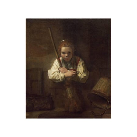 A Girl with a Broom, 1651 Print Wall Art By Rembrandt van Rijn (Girl Dancing With Broom)