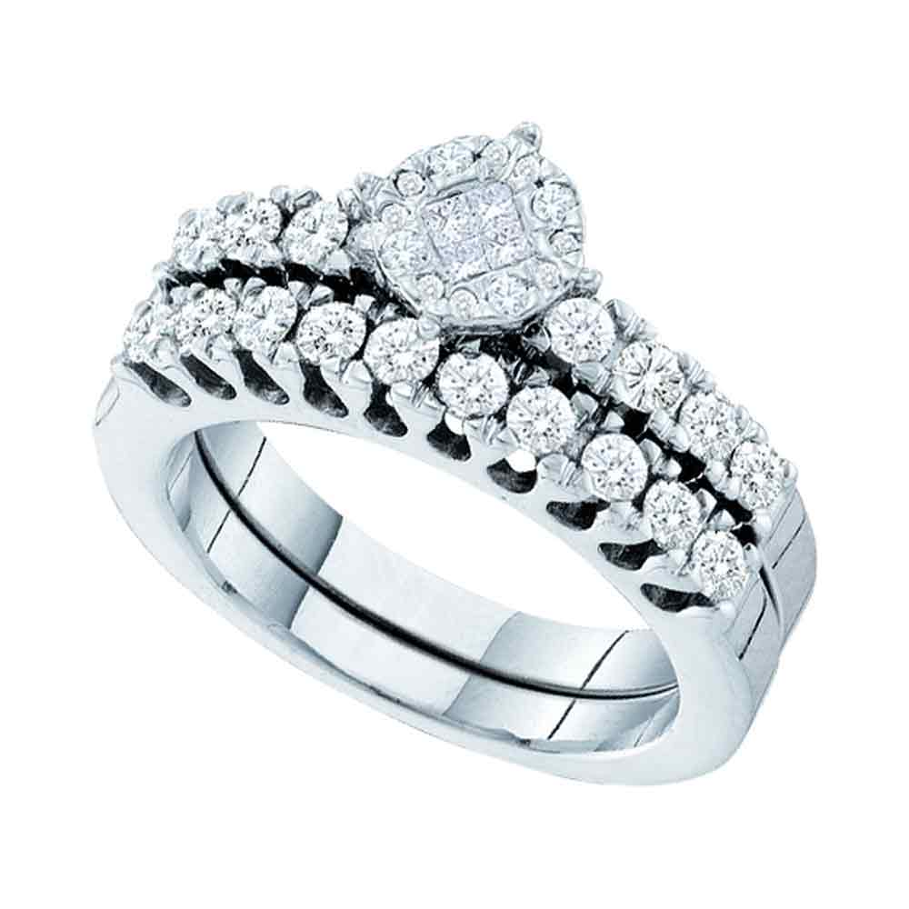 14kt White Gold Womens Princess Round Diamond Soleil Bridal Wedding Engagement Ring Band Set 7 8 Cttw by GND