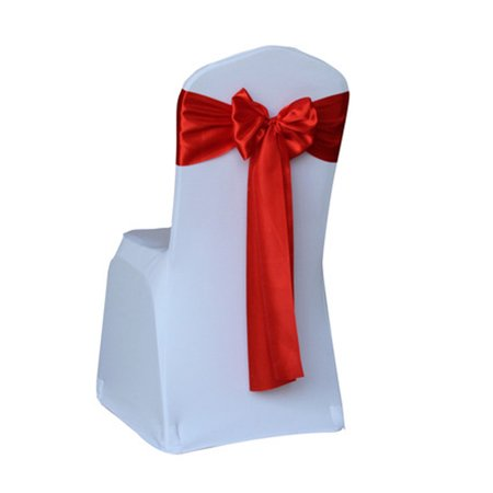 Satin Chair Cover Sash Bows Banquet Wedding Decor Ribbon Untied 17*275cm,Red - Cheap Chair Covers And Sashes