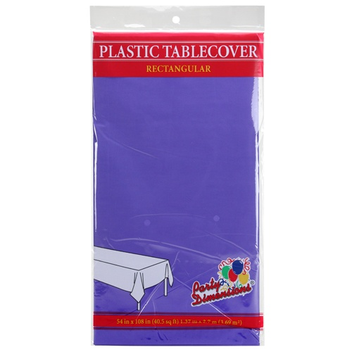 "Purple 54"" x 108"" Rectangular  Plastic Disposable Party  Tablelcoth"