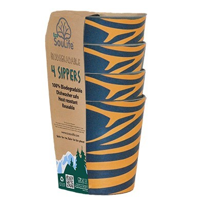 EcoSouLife Bamboo 8.4 Oz. Sipper Cup Set (Set of 4), Tribal Bliss