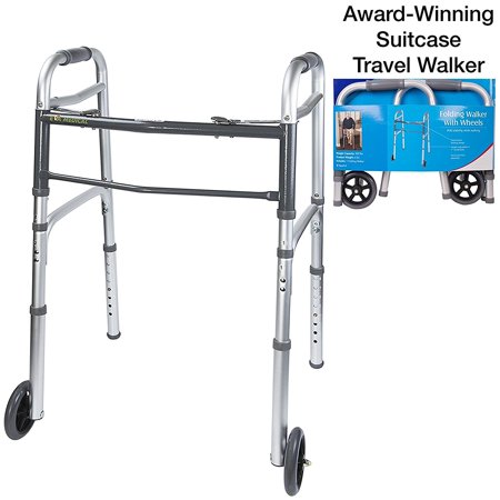 Medical Grade Compact Travel Folding Walker with Wheels and Detachable Legs (Fits medium/large - Folding Leg System