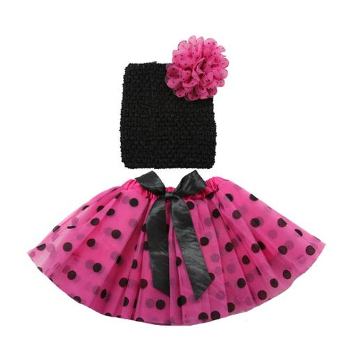 Girls Hot Pink Black Polka Dot Ribbon Tutu Headband Set 0-8Y