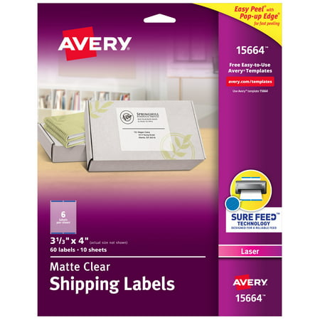 """Avery Matte Clear Shipping Labels, Sure Feed Technology, Laser, 3-1/3"""" x 4"""", 60 Labels (15664)"""
