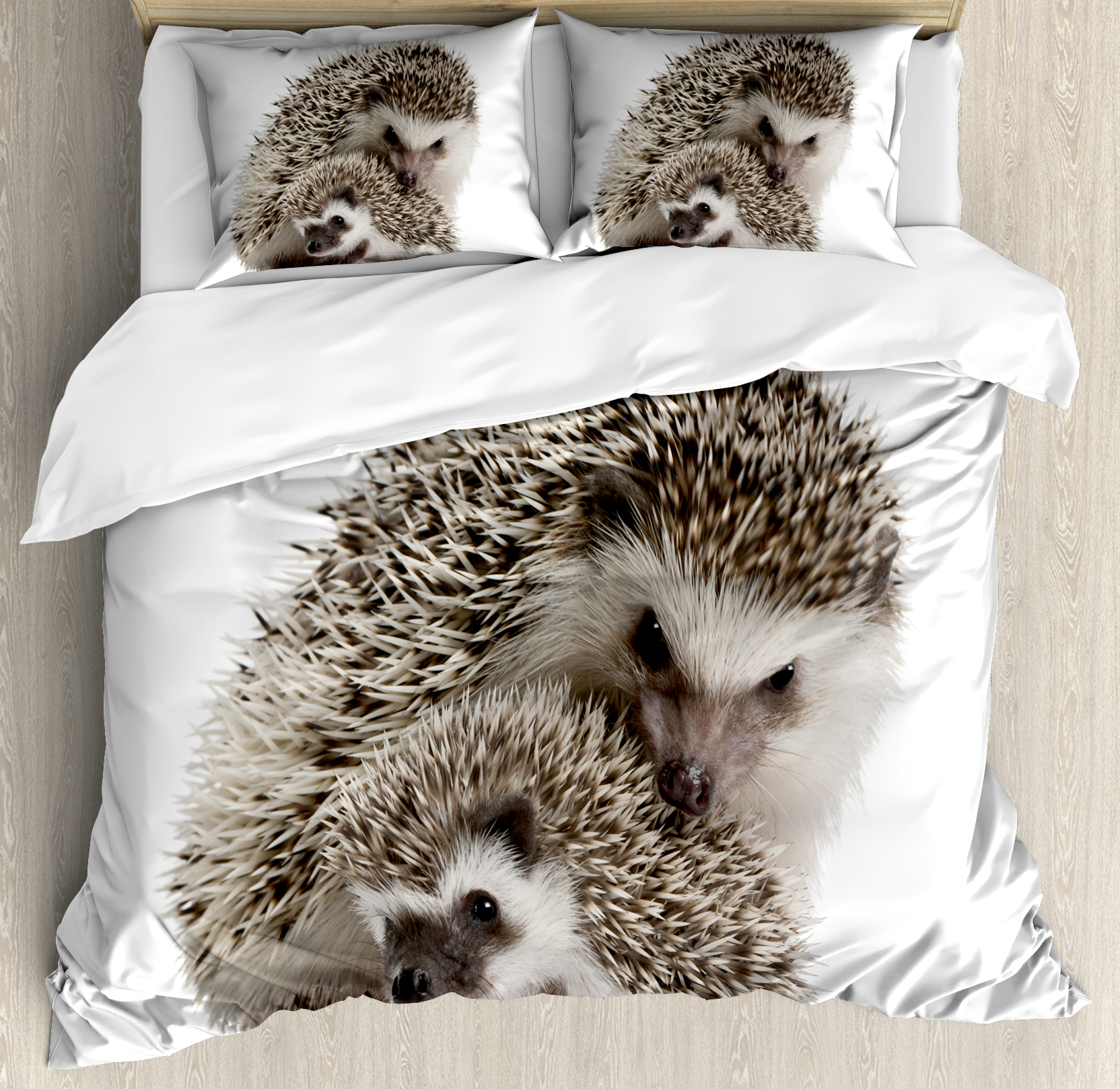 Hedgehog Queen Size Duvet Cover Set, Atelerix Albiventris Photography with Mother and Children Love and Family Theme, Decorative 3 Piece Bedding Set with 2 Pillow Shams, Brown Ivory, by Ambesonne