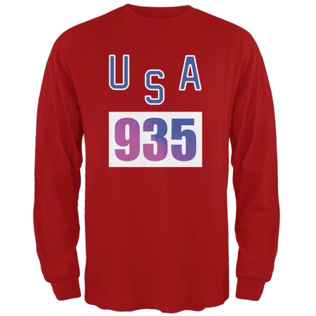 Team Bruce Jenner USA 935 Olympic Costume Red Adult Long Sleeve T-Shirt