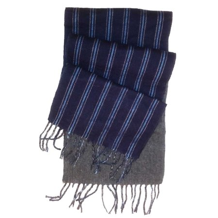 Gray And Black Striped Scarf (Chaps Adult Unisex Reversible Striped Navy Blue/Solid Gray Scarf One)