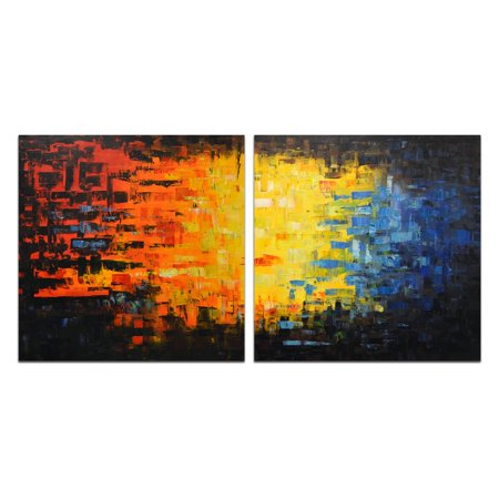 OMAX Decor Graphic Display of Colors Wall Art - Set of 2