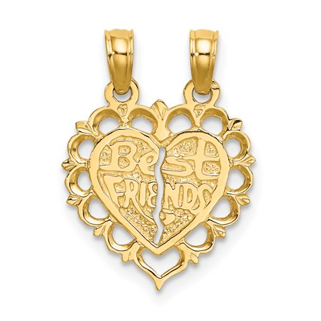14k Polished Best Friend 2 Piece Break-Apart Heart Charm